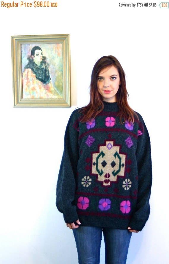 SALE 50% OFF Vintage 80s Benetton Ski Sweater Charcoal Gray Shetland Wool Pullover Pink & Purple Flowers Geometric Pattern Boxy Oversized La