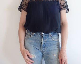 Lace Blouse Vintage Black Short Sleeve