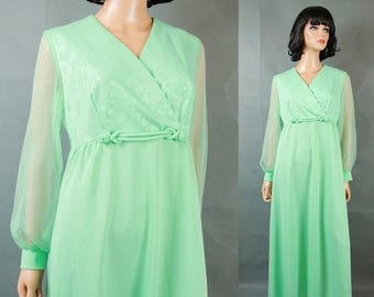 ON SALE Vintage Chiffon Sleeve Disco Dress Sz 14 L Mint Green Long Empire Waist Costume Free Us Shipping