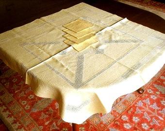 Tablecloth Vintage Linen Cutwork Lace Hemstitched Golden Yellow Irish Drawnwork & 4 Napkins