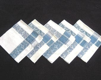 DAMASK Napkins for Tablecloth Replacement Set Vintage COTTON Hemstitched SET 5 Blue Trim