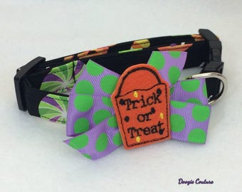 Trick Or Treat Halloween Dog Collar Size XS through Large by Doogie Couture Pet Boutique