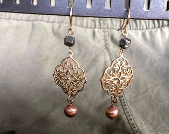 SOLD - Dangle earring with Matte Gold Kite Shield Pendant, Pyrite, Pink Pearl