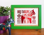 Swedish Dala Horse A5 Foil Print - Folk art inspired, Animal print, Funny Print, Scandinavian Art, Foil Art, Mini Print, Skandi design