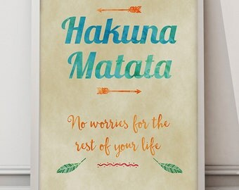 Hakuna Matata lion king quote A3/A2 UNFRAMED Poster wall art