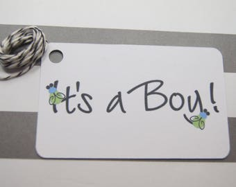 Its a Boy Tags, Shower Tags, Favor Tags, Baby Boy, Set of 8 (T14)