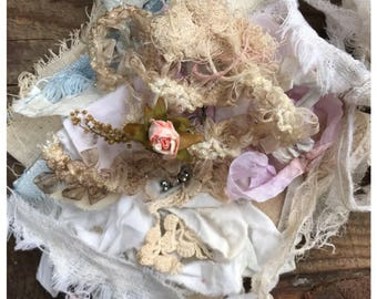 Vintage bundle dyi - textile art - tattered fabric bits