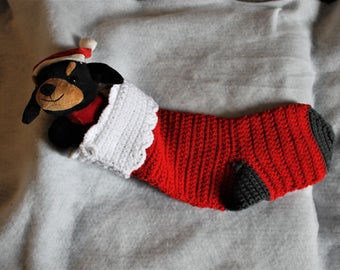 Red and Charcoal Christmas Stocking