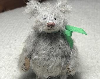 "Miniature Hand Sewn 2-3/4"" Gray Scruffy Mohair Teddy Bear"