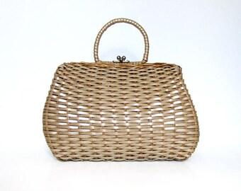 Straw Bag Purse Vintage 70s Summer Handbag Purse Large Woven Basket Bag