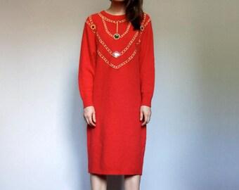 80s Red Sweater Dress Vintage Winter Dress Long Sleeve Dress Oversized Sweater Metallic Sweaterdress - Medium to Large M L