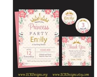 Pink, White and Gold Princess Birthday Party invitaton. Girls Party, flat invitation, Sweet 16, Bat Mitzvah Invitation 5x7, 2 sided