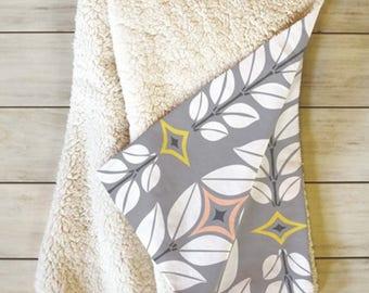 Fleece Throw Blanket // Sherpa // Grey Geometric // Dorm Decor // Home Decor // Cozy Blanket // Cortlan Whisper Design // Retro Style