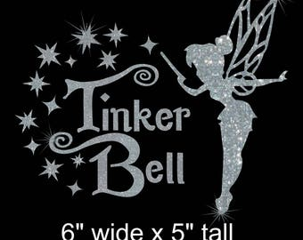 Choice of Tinkerbell with wand iron on glitter Disney transfer DIY applique DIY patch