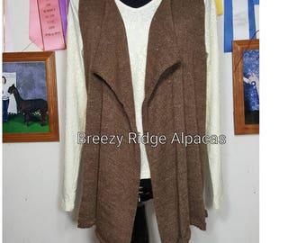 Drape Knit Vest, Knit Alpaca Vest, Natural Fiber Vest, Natural Color, Home Grown Suri Alpaca