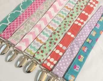 On Sale Paci -  Binky Clip - choose your print - boy and girl options
