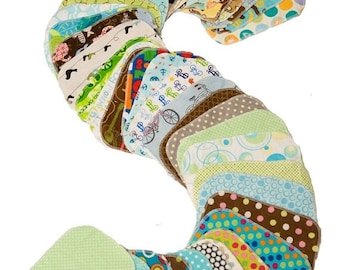 On Sale Sweet Bobbins Cloth Wipes -Gender Neutral Mixed Print Starter Set - 12 wipes - flannel and OBV - SOFT - 6x8 size