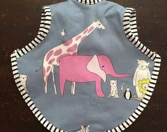 Bib, baby bib, bapron, toddler bib, tie bib, bibs, zoo bib, terry bib, waterproof bib, reversible bib, 6-18 months, animal bib, baby gift