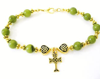 IRISH Greem CONNEMARA Marble Single Decade CELTIC Heart Knot Rosary Bracelet-Ireland Jewely