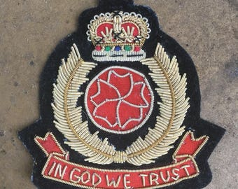 Vintage hand embroidered crown patch In God we trust with laurel