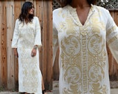 Vintage 70s Cream & GOLD GREEK Embroidered Caftan Maxi Dress with BELL Sleeves S