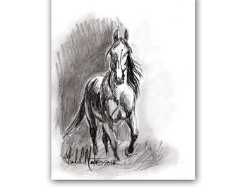 Wild Horse Mustang Art Original Graphite Drawing  LLMartin Country Ranch Pony Free Shipping USA