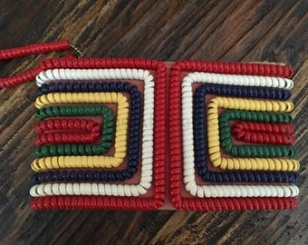 Fabulous 1940s 1950s Telephone Cord Clutch Purse Red Yellow Green with Top Metal Zipper Closure and Cord Pull
