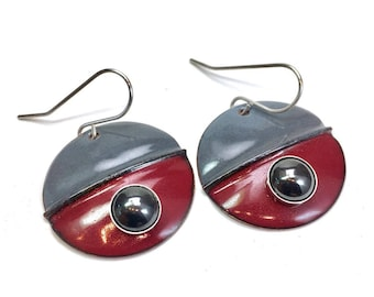 Antique red & gray hematite designer earrings, cloisonne style half moon enamel circular cabochon textured metals sterling silver and copper