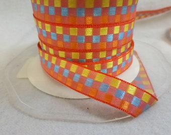 Easter Checkboard Ribbon Woven Double Sided  2 Yards