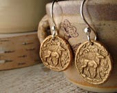 golden bronze deer earrings : woodland forest jewelry - nature lover jewelry - mixed metal jewelry -