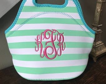 Monogrammed Insulated Mint and Turquoise Cabana Stripe Neoprene Lunch/Cooler Bag; Great for School, Professionals and or/Summer Time