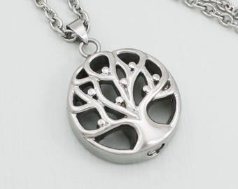 Silver Tree of Life Urn Necklace |  Cremation Ashes Jewelry | Remembrance Charm Necklace