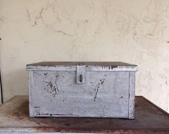 Vintage Industrial Metal Storage Box