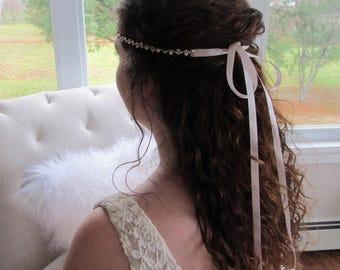 Rose Gold Rhinestone Bridal Headband,Bridal Accessories,Wedding Accessories,Crystal Wedding Hairband,Bridal Headpiece,#H48
