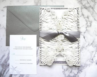 Silver Glitter and Aqua Seashells Laser Cut Invitation Suite for Beach Wedding - Laser Cut Gate Fold, Insert Card, RSVP Card, and Envelopes