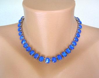 Cobalt Blue Necklace, CIRO, Cobalt Blue Jewelry, Blue Rhinestone, Sapphire Choker,  Diamante Jewelry, Party Jewelry, Cocktail Jewelry, Deco