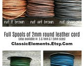2mm SPOOLS, 2mm Round Leather Cord, Full Spools, Leather Cord, 2mm Leather, Round Leather Cord, Natural Dye Leather, The Classic Bead, 2mm