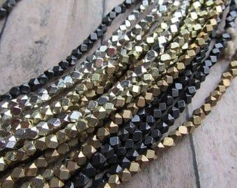 3mm Cornerless Cube Strand African Metal Beads, Choice of Finish, African Brass Beads, African Beads, Brass Beads, Bead Strands