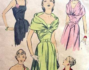 Sale:) Vintage 1950's Sewing Pattern 5822 - Advance - GLAMOROUS Evening Cocktail Strapless Dress & Stole - size 12/30