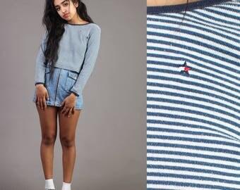 vintage TOMMY HILFIGER blue STRIPED crop top cropped shirt ringer star logo 90s 1990s S/M