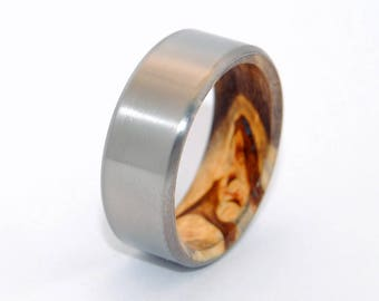 wedding rings, titanium rings, wood rings, mens rings, Titanium Wedding Bands, Eco-Friendly Wedding Rings, - LIGHT BUCKEYE KORE