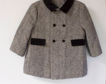 Vintage girl's coat - wool velvet collar size 24M/2T by F.W. Fischer Designs for Ellerie Fashions
