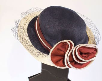 Vintage 1960s Women's Blue white and burgandy Straw Hat with netting by Sylvia - Kentucky Dirby Hat