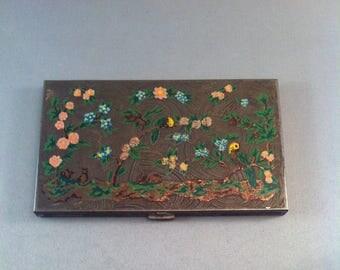 Vintage Volupte' Brass Cigarette Case/ Business card Case, Vintage Volupte' Deco Cigarette Case, Art Deco Cigarette Case, Painted Brass