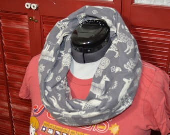 Infinity Scarf with White Llamas on Gray Pattern 100% Cotton Flannel Preshrunk