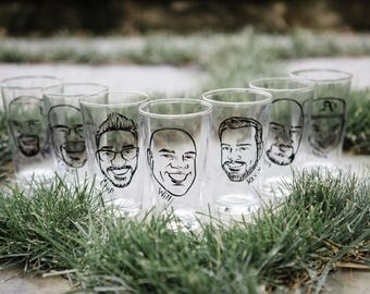 Caricature Glasses - The Original Vintage Style Caricature Pint Glasses - Groomsman Gift