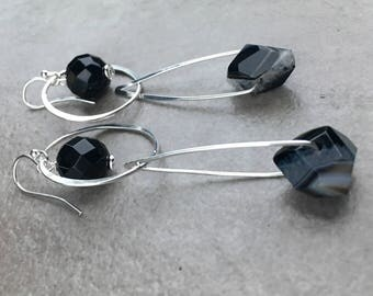 Black Onyx and Striped Onyx Geometric Dangle Earrings - Sterling Silver and Black Onyx Earrings - Unique Stone and Silver Jewelry
