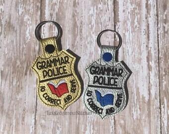 Grammar Police Key Fob, Keychain, Snap Tab - Gold or Silver