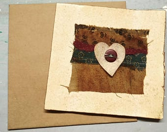 Large Handmade card, primitive handmade card, collage card, heart, rustic, love , house, country cottage, recycled, button string envelope