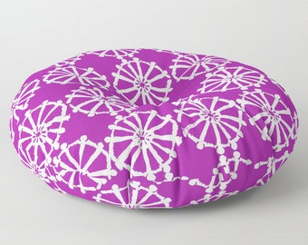 Purple floor cushion - Round cushion - Purple Pillow - Round pillow - Floor pillow - Geometric pillow - 26 inch pillow - 30 inch pillow